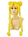 Cosplay Peruker Sailor Moon Sailor Moon Gul Lång Animé Cosplay Peruker 100 CM Värmebeständigt Fiber Kvinna