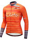 Miloto Heren Lange mouw Wielrenshirt - Oranje Fietsen Shirt Kleding Bovenlichaam Sport Winter Polyster Bergracen Wegwielrennen Kleding / Rekbaar