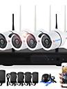 yanse 4ch 720p trådlösa nvr-kit vattentäta ir nattvisningssäkerhet wifi ip kamera 36leds övervakning cctv system