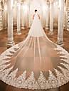 Un nivel Voal de Nuntă Voaluri de Catedrală cu Aplică Dantelă / Tulle / Tăietură Înger / Cascadă