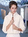 3/4 Length Sleeves Faux Fur Wedding Party / Evening Women\'s Wrap With Feathers / Fur Patterned Shrugs