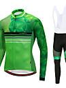 CYCOBYCO Herr Långärmad Cykeltröja med Haklapp-tights - Grön Cykel Klädesset, 3D Tablett, Snabb tork Fleece Lycra