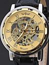 WINNER Bărbați Ceas Elegant  Ceas de Mână ceas mecanic Mecanism automat Gravură scobită Piele Bandă Lux Casual Negru