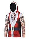 Snowman Santa Claus Hoodie Men\'s Christmas Festival / Holiday Polyester Red Carnival Costumes Striped Christmas