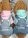Câine Salopete Îmbrăcăminte Câini Literă & Număr Albastru / Roz Bumbac Costume Pentru animale de companie Bărbați / Pentru femei Casul / Zilnic