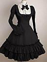 O piesă/Rochii Clasic/Traditional Lolita Elegant Prințesă Cosplay Rochii Lolita Negru Culoare solidă Modă Beretă Manșon scurt Mini / Scurt