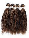 4 delar Svart / Ljusbrun Lockigt Peruanskt hår Hårförlängning av äkta hår Hårförlängningar