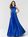Linia -A Bijuterie Lungime Podea Satin Bal / Seară Formală Rochie cu Mărgele Pliuri de TS Couture®