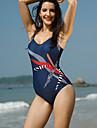 Pentru femei Mată Imprimeu Bustieră O Piesă Costume de Baie Sexy Albastru piscină