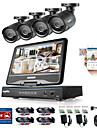 Sannce® 8ch 4st 720p lcd dvr väderbeständig övervakningssäkerhetssystem stöds analog ahd tvi ip kamera
