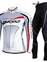 Nuckily Herr Långärmad Cykeltröja och tights - Svart Cykel Klädesset, Håller värmen, UV-Resistent, Andningsfunktion Polyester Fleece