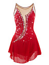 Robe de Patinage Artistique Femme Fille Patinage Robes Rouge Strass Haute elasticite Utilisation Tenue de Patinage Design Anatomique Fait