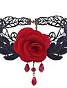 Pentru femei Ametist sintetic Coliere Choker - Dantelă Floare Dulce, Modă Negru, Rosu Coliere 1 Pentru Zilnic