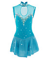 Figure Skating Dress Women\'s Girls\' Ice Skating Dress LightBlue Spandex Elastane Athletic Competition Skating Wear Handmade Jeweled Rhinestone Sleeveless Skating