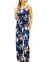 Pentru femei Mărime Plus Size Vintage Boho Salopete - Fără Spate, Floral Cu Bretele Talie Înaltă Picior Larg