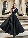 Pentru femei Guler Cămașă Palton Ieșire Șic Stradă - Mată, Stil Vintage Lână