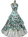 Gosurori Victoriano Mujer Vestidos Falda Accesorios Cosplay Azul Floral Casquillo Sin Mangas Hasta el Tobillo Disfraces