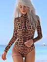 Pentru femei bodysuit Mată Leopard Guler Pe Gât