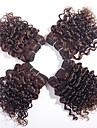 Cheveux Bresiliens Kinky Curly Trame cheveux avec fermeture 4 offres groupees 8pouce Tissages de cheveux humains Marron fonce