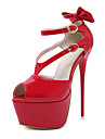 Pentru femei Pantofi Imitație de Piele Primăvară / Vară Confortabili / Noutăți / Cizme la Modă Tocuri Toc Stilat Funde Negru / Rosu / Nuntă