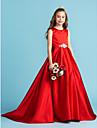 Linia -A Prințesă Bijuterie Lungime Podea Satin Rochie Junion Domnișoare Onoare cu Arc Detalii Cristal Pliuri de LAN TING BRIDE®