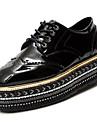 Pantofi PU Primăvară Toamnă Confortabili Oxfords Toc Platformă Vârf rotund pentru Negru Bej