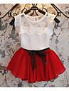 Fete Set Îmbrăcăminte Jacquard Bumbac Poliester Zilnic Școală Vară Mânecă scurtă Casual Șic Stradă Trifoi Roșu-aprins Roz Îmbujorat Mov