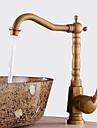 Antik Centerset Vattenfall Keramisk Ventil Ett hål Singel Handtag Ett hål Antik koppar, Badrum Tvättställ Kran