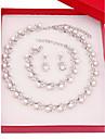Dámské Šperky Set Napodobenina perel, Postříbřené Jednoduchý, Módní Zahrnout Svatební šperky Soupravy Stříbrná Pro Svatební Denní