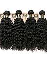 4 pakker Brasiliansk hår Kinky Curly 8A Menneskehår Menneskehår, Bølget Menneskehår Vævninger Menneskehår Extensions / Kinky Krøller