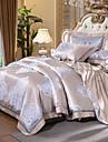 Duvet Cover Sets Floral Luxury 4 Piece Silk/Cotton Blend Jacquard Silk/Cotton Blend 1pc Duvet Cover 2pcs Shams 1pc Flat Sheet