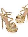 Pentru femei Pantofi PU Primăvară / Vară Confortabili / Balerini Basic Sandale Toc Stilat Alb / Negru / Argintiu