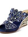 Žene Cipele Poliuretan Proljeće / Ljeto Modne čizme Sandale Wedge Heel Peep Toe Štras / Kristal / Svjetlucave šljokice Dark Blue / Crvena