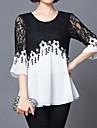 Pentru femei Mărime Plus Size Bluză Concediu Șic Stradă - Bloc Culoare Dantelă Alb negru