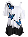 Pentru femei Tricou De Bază - Bloc Culoare Animal Fluture Alb negru