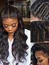 Remy-hår Peruk Brasilianskt hår Lockigt 130% Densitet Med Babyhår Med blekta knutar obearbetade Naturlig hårlinje Svart Korta Lång