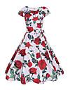 Pentru femei Ieșire Bumbac Zvelt Swing Rochie - Imprimeu, Floral Lungime Genunchi