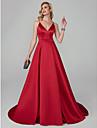 Corte en A Tirantes Spaghetti Larga Tencel Evento Formal Vestido con Cinta / Lazo por TS Couture®