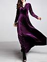 Femme Grandes Tailles Velours Balancoire Robe Couleur Pleine Taille Haute Col en V Maxi
