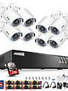 systeme de cameras de securite annke® 8ch 1080p avec cameras ip ipod 8pcs