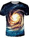 男性用 プリント プラスサイズ Tシャツ 活発的 / ベーシック ラウンドネック カラーブロック / 半袖