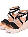 Pentru femei Pantofi Imitație de Piele Vară Confortabili Sandale Toc Platformă Pantofi vârf deschis Negru / Cafea / Rosu