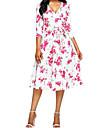 Pentru femei Ieșire De Bază Șic Stradă Zvelt Shift Tunică Rochie Floral În V Midi Alb