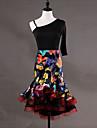 الرقص اللاتيني الفساتين للمرأة أداء سباندكس أورجنزا نموذج / طباعة كشاكش نصف كم بدون كم فستان