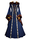 Cosplay Epoque Medievale Costume Femme Robes Marron / Bleu / Rouge Vintage Cosplay Tissu en Coton Manches Longues Manches Evasees