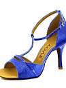 Pentru femei Pantofi Dans Latin / Pantofi Salsa Sclipici Spumant / Imitație de Piele Sandale / Călcâi Cataramă / Legătură Panglică Toc Personalizat Personalizabili Pantofi de dans Rosu / Albastru