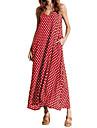 女性用 プラスサイズ シフォン / スウィング ドレス ソリッド / 水玉 / 波点 マキシ ストラップ