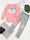 Fete Set Îmbrăcăminte Brodată Bumbac Zilnic Primăvară Toamnă Toate Sezoanele Manșon Lung Linii Portocaliu Roz