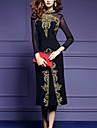 Pentru femei Mărime Plus Size Ieșire Bumbac Bodycon Rochie - Plasă / Crăpătură, Culoare solidă / Brodată Stand Midi Negru / Primăvară
