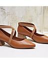 Pentru femei Pantofi Nappa Leather / Piele Primăvară Confortabili / Balerini Basic Tocuri Toc Îndesat Negru / Roșu Vin / Marron
